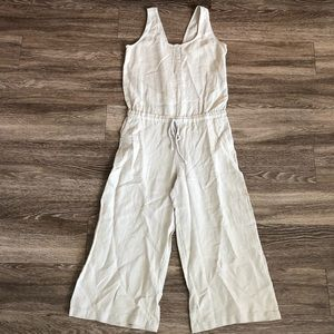 ANTHRO • cloth stone linen crop wide leg jumpsuit